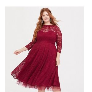 Torrid red lace midi dress special occasion